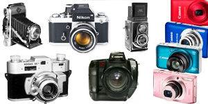 recopilación de cámaras de fotos para aficionados o profesionales